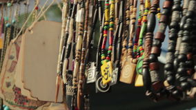 Colorful traditional ethnic jewelry sold stock video footage