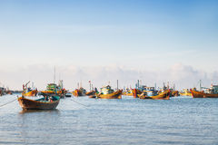 Colorful traditional fisher boats. Mui Ne, Vietnam. Stock Photo