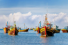 Colorful traditional fishing boats near Mui Ne, Vietnam. Stock Photography