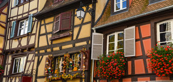 Colorful traditional french houses in Petite Venise, Colmar Royalty Free Stock Images