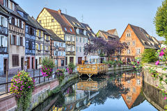 Colorful traditional french houses in Petite Venise. Colorful traditional french houses on the side of river Lauch in Petite Venise, Colmar, France Royalty Free Stock Photography