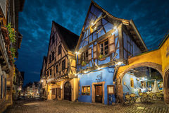 Colorful traditional french houses in Riquewihr, France Royalty Free Stock Images