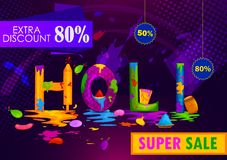Colorful Traditional Holi Shopping Discount Offer Advertisement  background for festival of colors of India. In vector Royalty Free Stock Photos