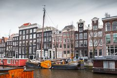 Canal coast view, Amsterdam, Netherlands royalty free stock photo
