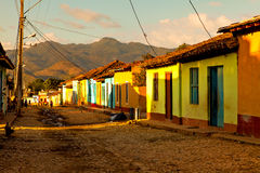 Colorful traditional houses in the colonial town Trinidad, Cuba. Trinidad, Cuba - December 18, 2016: Colorful traditional houses in the colonial town Trinidad Royalty Free Stock Image