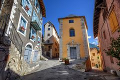 The Old Town of Briancon, Alps mountains, France stock photos