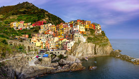 Colorful traditional houses on a rock over Mediterranean sea, Ma Royalty Free Stock Photos