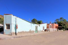 Colorful traditional houses in the streets of the Mission San Ignacio, Baja California, Mexico. Colorful traditional houses in the streets of the Mission San Royalty Free Stock Images