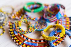 Masai traditional jewelry. Colorful traditional jewelry of Masai tribe stock photos
