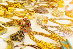 Colorful traditional jewelry sold at market. Colorful traditional jewelry sold at weekly market stock image