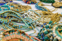 Colorful traditional jewelry sold at weekly market. Colorful beads traditional jewelry sold at weekly market Stock Image