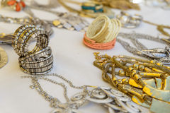 Colorful traditional jewelry sold at weekly market. Colorful beads traditional jewelry sold at weekly market Stock Images