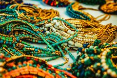 Colorful traditional jewelry sold at market. Colorful traditional jewelry sold at weekly market stock photos