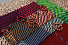 Colorful traditional khmer scarfs and beads Royalty Free Stock Photography