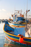 Colorful traditional mediterranean boats, Marsaxlokk, Malta. Royalty Free Stock Image