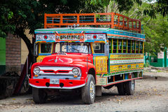 Colorful traditional rural bus from Colombia Stock Images