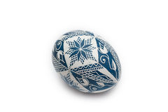 Colorful traditional Russian Ester Egg - blue Stock Photo