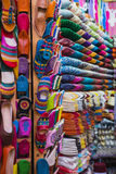 The colorful traditional shoes of Morocco made from leather. Sell in the Medina in Fes, Morocco Stock Photo