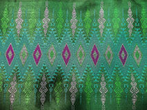 Colorful Traditional Thai Green Silk Textile Pattern Handcraft Texture Vintage Style Stock Photo