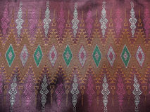 Colorful Traditional Thai Old Pink Silk Textile Pattern Handcraft Texture Vintage Style Stock Photo