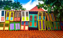 Colorful traditional wood window in local tropical village in South East Asia royalty free stock image