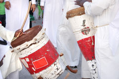 Colorful traditonal drums played by artists Stock Photo