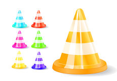 Colorful traffic cones icon Royalty Free Stock Images