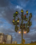 Colorful trafficlight. Monument for trafficlight in Eilat is a famous landmark in the city Royalty Free Stock Photography