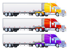 Colorful Trailers on a white background. For infographics or design. Delivery and shipping stock illustration