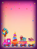 Colorful train greeting card Stock Images
