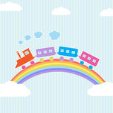 Colorful train on rainbow Royalty Free Stock Photos