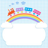 Colorful train on rainbow Stock Photos