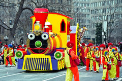 Colorful train at Santa Claus Parade royalty free stock images