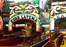 Colorful trajinera boats at Xochimilco Mexico Stock Image