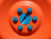 Colorful traktor. Bright tractor wheel Stock Photography