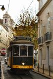 Colorful trams through the streets of Lisbon in Autumn. Colorful trams through the streets of Lisbon in Autumn Royalty Free Stock Photo