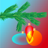 Colorful transparent Christmas ball on spruce branch, vector illustration Royalty Free Stock Images