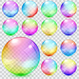 Colorful transparent glass spheres vector illustration