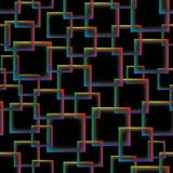 Colorful transparent squares on black background. Seamless vecto Stock Photo