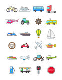Colorful transport icons set. Set of 24 colorful transport icons Royalty Free Stock Image