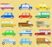 Colorful transport set with many urban cars Stock Image