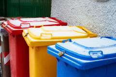Colorful trash cans Royalty Free Stock Photography
