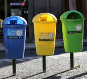 Colorful Trash Cans in Funchal, Madeira stock photography