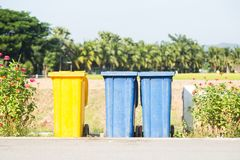 Colorful trash on the street. royalty free stock images