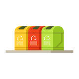 Colorful trash recycling containers, rubbish bins row. Waste recycling and utilization concept vector Illustration on a white background vector illustration