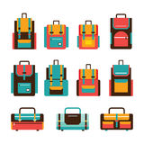 Colorful travel bag and packpack set Modern flat design Stock Image