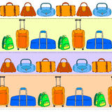 Colorful travel bags striped seamless  pattern, vector Royalty Free Stock Photos