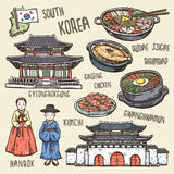 Colorful travel concept of south Korea Royalty Free Stock Photos