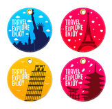 Colorful Travel Explore Enjoy Beautiful Round Tags or Bookmarks Royalty Free Stock Photography