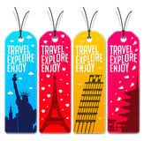 Colorful Travel Explore Enjoy Beautiful Tags or Bookmarks stock illustration